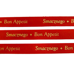 "Ribbon: 5/8"" (Red with Gold Metallic) 'Smaznego - Bon Appetit'"