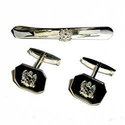 Beautiful silver-plated Polish eagle cuff links and tie bar set.