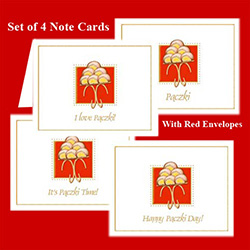 Delightful set of four note cards showing a platter of Polish Paczki ready to eat. Each card has text below the platter. Includes four red envelopes. All papers are premium archival card stock, acid free and lignin free.  Made in USA.