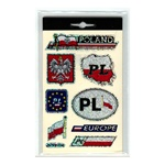 "Set of 8 different waterproof stickers representing Poland.  Suitable for indoor or outdoor use, these are perfect for a display in your room or on your car, bicycle, trailer and van.  The letters ""PL"" are the designation for Poland in Europe.  Nice assor"