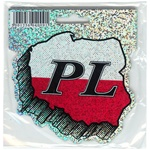"Map of Poland (Black/Red and White Metallic) Decal.  The letters ""PL"" are the designated abbreviation for Poland in Europe."
