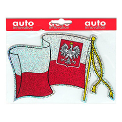 This left-waving flag is a glittery metallic sticker which reflects light nicely.