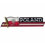 "Poland Flag (Black/Red and White Metallic) Decal - banner style. Size is approx 9.5"" x 2""."
