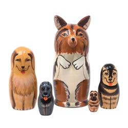Here's a pack of dogs for canine lovers everywhere. A colorful collie with 3-D ears and muzzle opens up to canines of all colors: a golden Labrador retriever, husky, blue healer, and pug. This variety of breeds makes an excellent dog nesting doll.