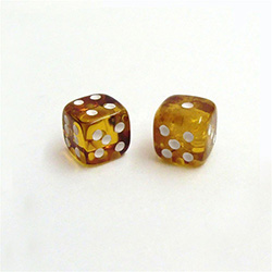 "Honey Amber Dice - 7/16"" (1.2cm)"