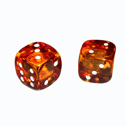 "Honey Amber Dice - 5/8"" (1.5cm)"