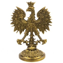 "Make a statement with this beautiful heavy brass Polish eagle, mounted on a brass pedestal. For placement on a desk, shelf, curio cabinet, or other display area. Eagle is visible on either side.  Size is approx 6"" x 4""."