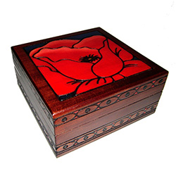 Wooden Box with Poppy Design