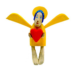 Hand carved painted folk angel by carver Maciej Manowiecki.  The artist is known for his unique, whimsical style.  His work can be characterized by the use of unconfined form, vibrant color, and lightness of style which brings each piece to life.