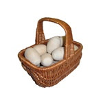 Unpainted wooden Easter eggs made from Linden wood.  Ready for your personal decoration, these eggs are solid and sturdy and will last for generations.  Price is for single egg, basket not included!