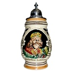 Impressive Polish ceramic stein featuring the image of King Wladyslaw Lokietek.