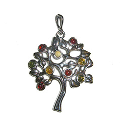 Multi-colored Amber Tree Pendant