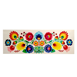 "Lowicz Kodra 23"" x 8"" (59cm x 20cm) - Floral Rectangle - Our Polish paper cuts are made by folk artists in the Lowicz area of central Poland. Each paper cut-out is hand made using sheep sheers to form the designs."