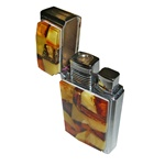 Unique and beautifully hand-crafted cigarette lighter with the front panel decorated in beveled highly-polished multi-colored shades of amber, the back panel is brilliant chrome-plated brass.  A nice weight and feel in your hands.