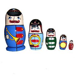 Set of five hand-painted musical band members nesting dolls.  Very cute!