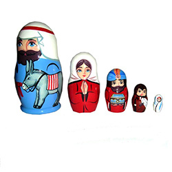 Set of five hand-painted nesting dolls depicting the Holy Family and the visitation of the three wise men at the Nativity scene.