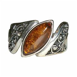 Marquise cut honey amber ring set in sterling silver.