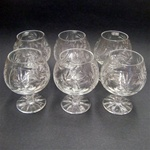 Genuine brilliant Polish 24% lead crystal hand cut with a pinwheel design in a stunning set of (6).