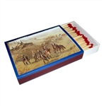Large box of 100 long matches featuring a panoramic scene of the battle of Raclawice. Exact portion of scene may vary.