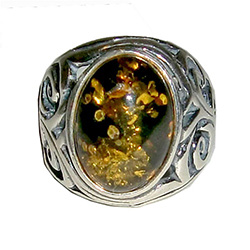 Size 5 - Oval Green Amber Ring
