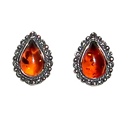 Honey Amber Teardrop Earrings