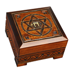 This beautiful box is made of seasoned Linden wood, from the Tatra Mountain region of Poland, and features the Star of David on the lid and this box is lockable with a key.