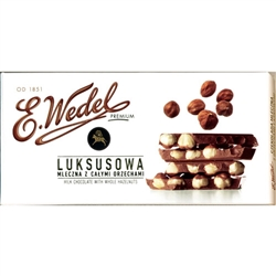 A synonym of exquisite taste and top-grade chocolate products.  This is a great milk chocolate candy bar with delicious hazelnuts!