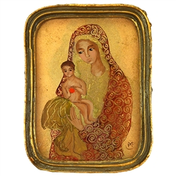 Painting On Glass - Madonna and Child