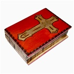 Prominent Cross on top of lid. Box is carved and shaped like a book. Sides are carved to resemble pages. Top is mahogany finish. Hinge lid.