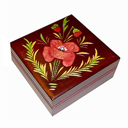Red Poppy Box with a hand painted and burned design.