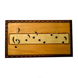 Musical Notes Box with a hand painted and burned design.
