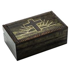 Cross and Sun Box with a hand painted and burned design.
