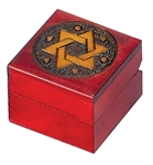 Square hand-painted box with a cross on the lid.