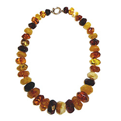 Large Multi-faceted Mixed-Color Amber Necklace