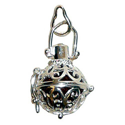 Sterling Silver Amber Ball Vessel Pendant