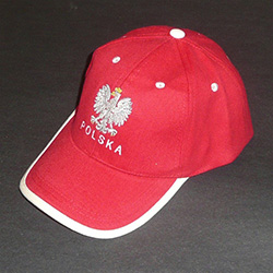 Display the Polish colors of red and white with this handsome looking baseball cap with detailed embroidery work. The front of the cap features and embroidered Polish Eagle made of silver thread with a crown and talons of gold colored thread.