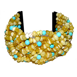 Turquoise and Cream Amber Cuff