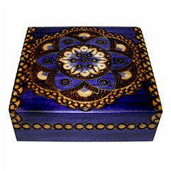 Blue finish box with round floral pattern accented by metal inlays and metallic paint.