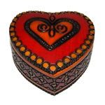 This beautiful handmade red heart wooden box is made of seasoned Linden wood, from the Tatra Mountain region of Poland.  The skilled artisans of this region employ centuries old traditions and meticulous handcraftmanship to create a finished product of un