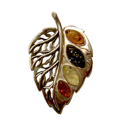 Multi-color Amber Leaf Pendant