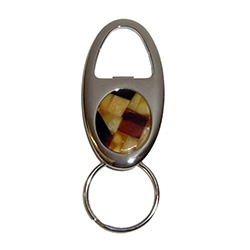 Classy chrome and inlaid honey, cream and cherry Baltic amber oval keychain with bottle opener.  Great souvenir gift.