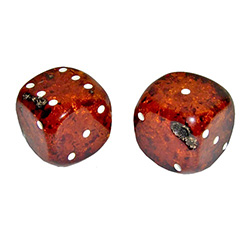 Breathtaking and stunning are two words that come to mind when when you see this unique and beautifully hand-crafted pair of extra-large cognac colored amber dice!