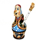 In the story of Koshei, Baba Yaga is the witch in Russian folklore, who flew through the air, rowing with a broom, and her hut stood on chicken legs. This four-piece nesting doll set consists of the mythological maiden holding her broom,