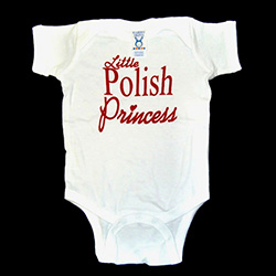 "This 100% cotton youth T-shirt, baby onesie romper, emblazoned with the saying ""Little Polish Princess""."