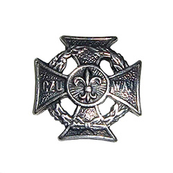 The Scouts Cross was modeled on the cross Virtuti Military, this is an isosceles cross (four arms means the world) surrounded by two wreaths, laurel oak, and they symbolize strength, wisdom and power. . At the center of the cross is a lily. . A characteri