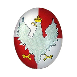 Polish white eagle from the period following WW1.  Red and White with Clear Vinyl Overlay