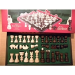 All wood chess set from Poland featuring portraits of the 32 kings of Poland and their dates of reign beginning with Mieszko I in 960 and ending with Stanislaus August Poniatowski in 1795.