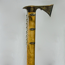 The ciupaga is the Polish mountaineer's combination mountain axe and walking stick.  This model is chromed plated over brass which means it never needs to be polished or cleaned.  Made in Zakopane the axe head has nice metal work detail.  Perfect for disp