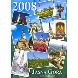 Jasna Gora Calendar 2008 published in Czestochowa Poland by the Pauline Fathers featuring Jasna Gora.  Beautiful full color glossy photographs with European layout (Monday is the first day of the week with Saint's names days listed in Polish.