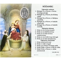 Mysteries of the Rosary - Polish - Rozaniec - Holy Card Plastic Coated. Picture is on the front, Polish text is on the back of the card.